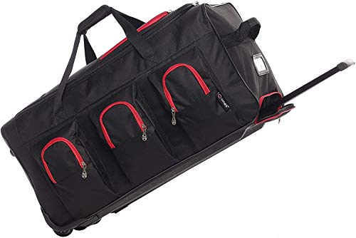 Large Lightweight Wheeled Duffle Holdall Travel Bag Sports Bag - 2 Year Warranty (30 Inch, Black/Red)