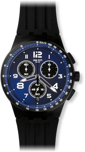 Swatch Unisex-Uhr Chronograph Quarz mit Silikonarmband – SUSB402