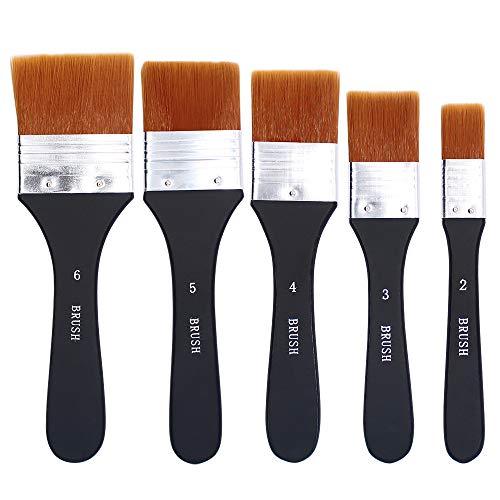 Vegena Flachpinsel, 5 Stück Aquarell Acryl Flachpinsel Set Ölmalpinsel Acrylpinsel Malerpinsel Ölfarben Bürste Nylonbürste Werkzeugpinsel für Malerei Ölmalerei Ölfarben Bürste (20/30/40/50/60 mm)