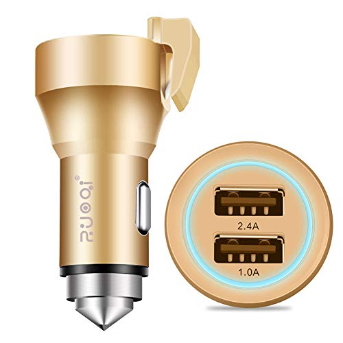 FJW Double Port Adaptateur de Voiture USB 3.4A Mini Chargeur Rapide avec Marteau de sécurité et Couteau de Sauvetage pour Voiture 12V-24V,Metallic