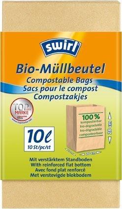 Bio - Müllbeutel SWIRL (10 l / 28 x 20 x 15 cm - 10 Stück) KOMPOSTIERBAR