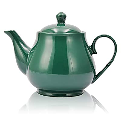 Porcelain Teapot,34 Ounce / 1000ml(4-5 Cups) Ceramic Tea Pot ,Blooming & Loose Leaf Teapot (GREEN)