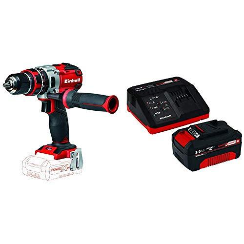 Einhell Expert TE-CD 18 Li-i - Taladro percutor sin cable (sin batería, 18 V, 2 velocidades, 60 Nm, luz LED, Power-X-Change) + Power X-Change Kit cargador con batería, tiempo de carga de 60 minutos