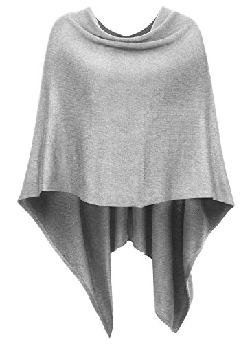 DJT Damen Poncho Tolles Accessoire Vorne Kurz Hinter Lang Design Umhange Hellgrau One Size