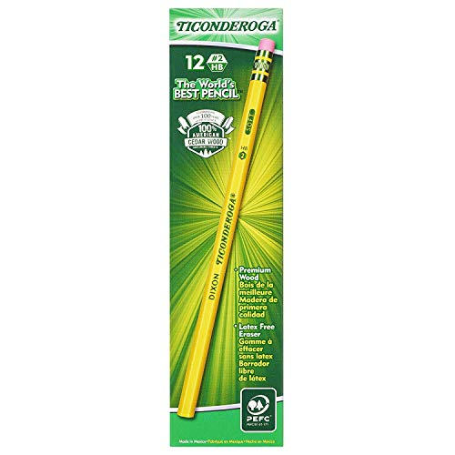 Ticonderoga Graphite Pencils, Wood-Cased #2 HB Soft, with Eraser, Yellow, 72-Pack.