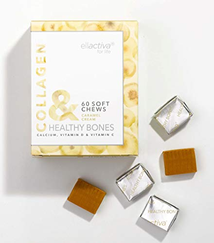 Ellactiva Collagen& Healthy Bones I With Vit C, Calcium & Vit D I 60 Sugar-Free Soft Chews I Caramel Cream