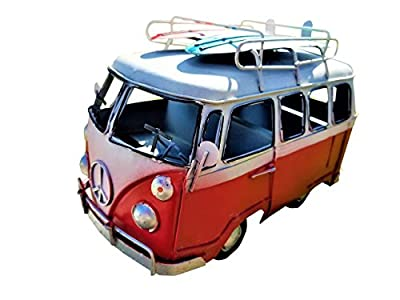 All Seas Imports Vintage Weathered Design Beach Style Metal Surf Bus with Surfboards on Top! from All Seas Imports