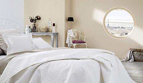 Ibena Nancy Tagesdecke 140x210 cm - Bettüberwurf weiß, leichte Decke mit Steppmuster