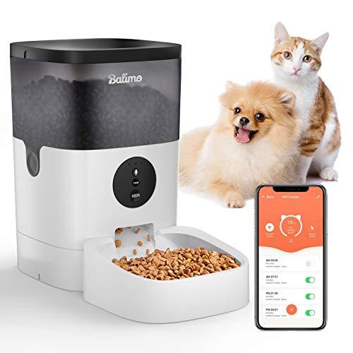 Balimo 4L WiFi Automatischer Futterspender für Katze und Hunde,Futterautomat Katze & Hund mit Ton Aufnahmefunktion Timer und Entfernt APP Steuerung