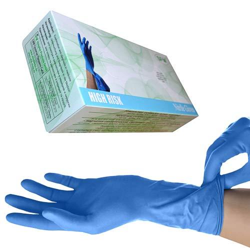 SFM ® HIGH RISK Nitril : S, M, L, XL, XXL LANG&STARK blau puderfrei volltexturiert Einweghandschuhe Einmalhandschuhe Untersuchungshandschuhe Nitrilhandschuhe S (50)