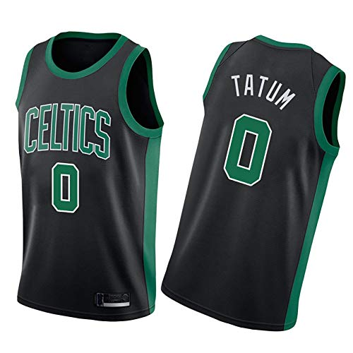 DSASAD Jersey Baloncesto Boston Celtics 0 Jayson Tatum Black Basketball Chaleco Camiseta,Secado Rápido Y Transpirable, Fanáticos NO.0-XL