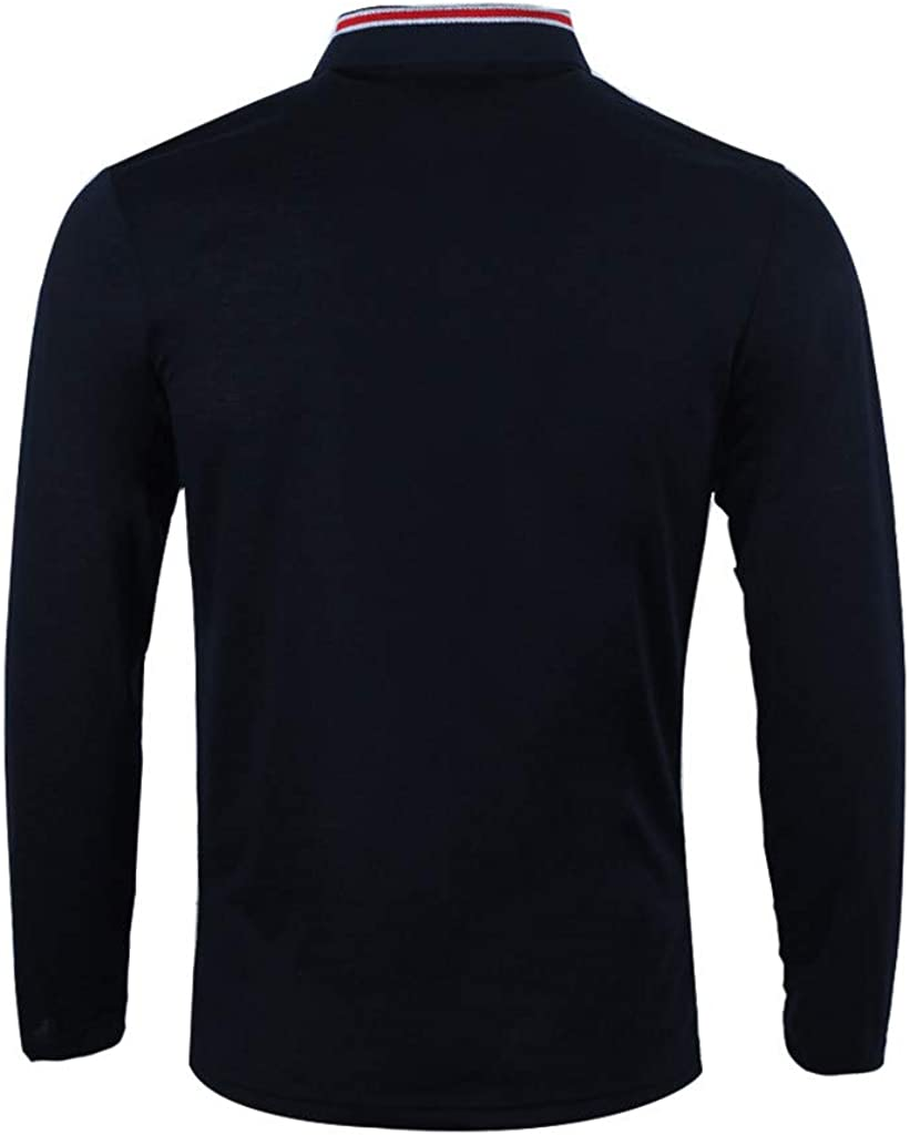 GREFER Mens Polo Shirt Splicing Long Sleeve Pullover Top Blouse Men Gifts