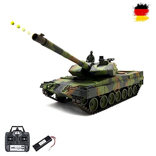 German Leopard 2A6 RC ferngesteuerter 1/16 Panzer Upgrade Edition mit 2.4GHz Technik, Metallgetriebe,Schuss-, Sound- und Rauch-Funktion, Kettenfahrzeug Tank Modellbau-Maßstab, Komplett-Set RTR