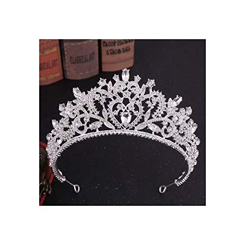 Tiaras da sposa vintage in oro rosa con cuore rosa e cristallo con diadema velo diadema, argento bianco