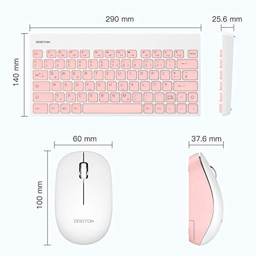 OMOTON Tastatur Maus Set Kabellos, Deutsches Layout mit faltbaren Ständern, 2.4Ghz Wireless Tastatur und Maus Set mit USB-Empfänger für Windows XP / 7/8/10 / Vista, Rosa…