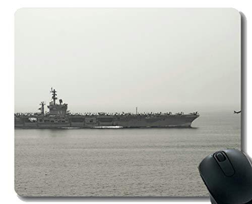 Mauspad mit genähtem Rand, Militär USS Dwight D. Eisenhower (CVN 69) Kriegsschiff-Mauspad, Rutschfeste Gummibasis Mousepad