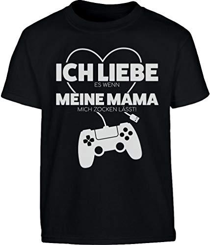 Gamer Liebe Es Wenn Meine Mama Mich Zocken Lässt Kinder und Teenager T-Shirt 128 Schwarz