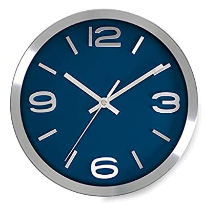 Bernhard Products Wall Clock 10 Inch Modern Silver Round Elegant Metal Quality Quartz, Silent Non Ticking Battery Operated Home Office Clock with 3D Numbers (Silver & Blue)