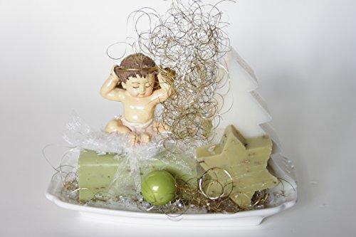 Keramische Zeep Schotel Gift Pack - Bevatten;Handgemaakte Kerstmis Geurende Schapen Melk Zeep (Natuurlijke) Ivoor & Olijf