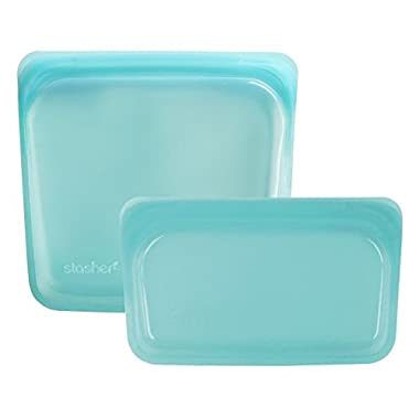 Stasher Reusable 2pc Silicone Snack & Sandwich Bag Set - Aqua Blue