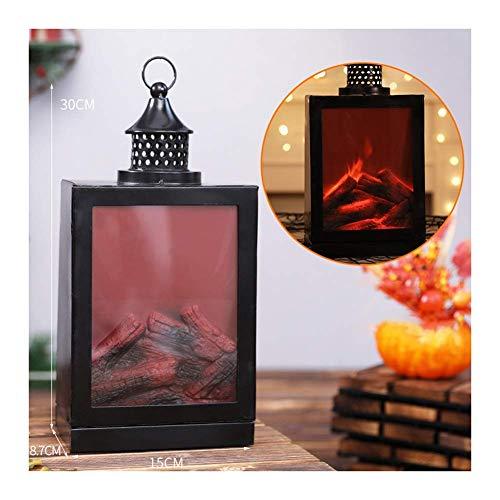 Flamme Lampe de cheminée Lampes de cheminée Creative Led Flamme Lanterne Simulation Cheminée Vent Lampe Charbon de bois Flamme Batterie Cour Salon Halloween Lampe d'ambiance de Noël (Taille: C)