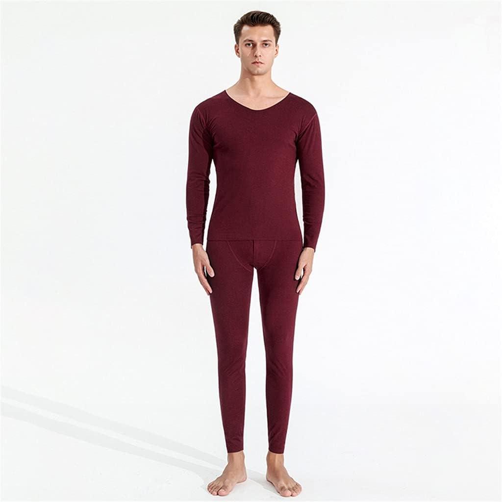 GPPZM Autumn Winter Men's Solid Thermal Underwear Oversized Loose Plus Size Cotton Autumn Clothes Long Pants Suit (Color : C, Size : XXL Code)
