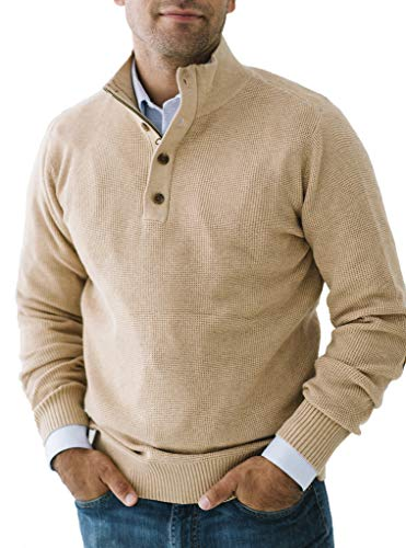 Hope & Henry Men's Waffle Knit Half Zip Pullover Sweater with Elbow Patches Camel Heather
