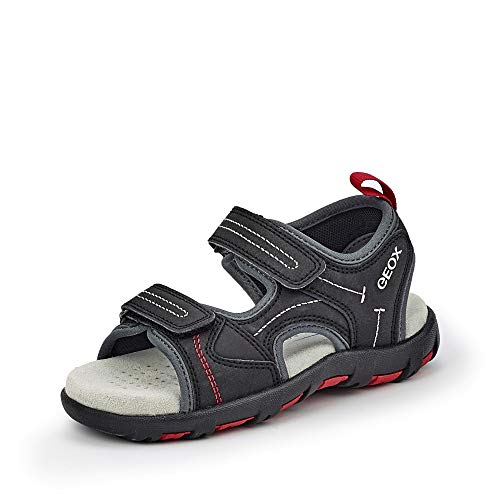 Geox Unisex - Kinder Sandalen JR Sandal PIANETA, Freizeit Outdoor-Sandale sommerschuh freizeitschuh Klettverschluss,Black/RED,26 EU / 8.5 UK Child
