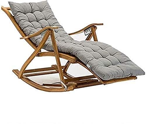 Gartenstuhl, Liegestuhl Campingstühle Gartenliege Klappstuhl Bambus Klapp Schaukelstuhl Liege, Schlafzimmer Wohnzimmer Sonnenliege , mit Baumwolle Pa