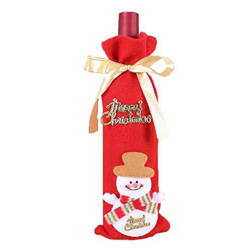 HUBA Weihnachten Weinflaschen Taschen, Santa Wein Flasche Beutel mit Kordelzug Geschenkverpackung Abdeckung Kleidung für Weihnachten Party Tisch Dekoration