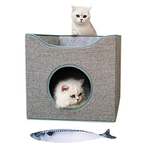 LONTG Novedad Casa para gatos condominio plegable 2 pisos para gatos cama de gatos cama de gato cama de gato refugio para gatos conejos animales pequeños con 2 cojines extraíbles juguetes gratis