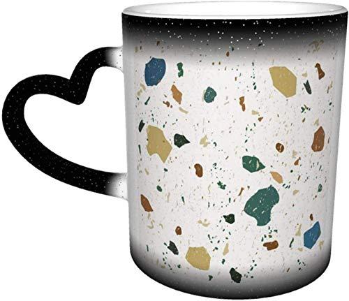Taza de cerámica Patrones sin costuras de terrazo Mármol italiano clásico Taza que cambia de color sensible al calor En el cielo Tazas de café Taza de cerámica