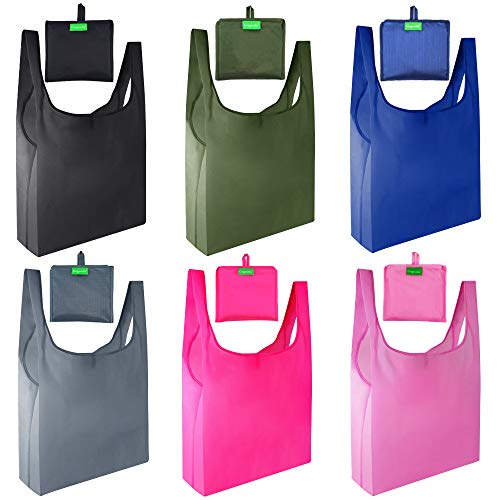 Gogooda Reusable Grocery Bags 6 Pack,Heavy Duty Shopping Bags Large 50LBS with Foldable, Ripstop...