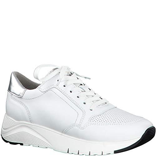Tamaris Damen Schnürhalbschuhe 23791-24, Frauen sportlicher Schnürer, Halbschuh schnürschuh strassenschuh Sneaker Wedge,White/Silver,36 EU / 3.5 UK