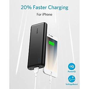 Anker Powerbank, PowerCore 20100mAh Externer Akku, hohe Kapazität 2-Port 4,8 A Output Ladegerät mit PowerIQ Technologie für iPhone, iPad, Samsung Galaxy und viele mehr (in Schwarz/Matt)