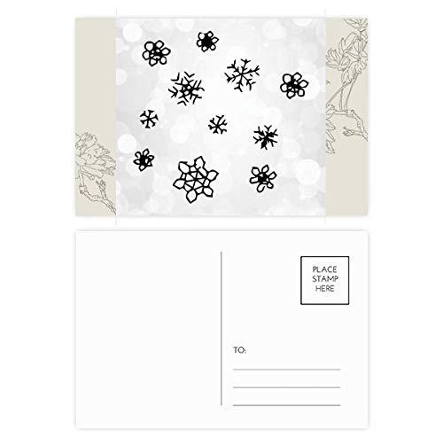 Copo de nieve tiempo pintado a mano patrón flor postal conjunto de tarjetas de agradecimiento lado envío 20pcs