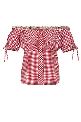 Stockerpoint Damen Bluse Clio Trachtenbluse, Rot (Rot Rot), 44
