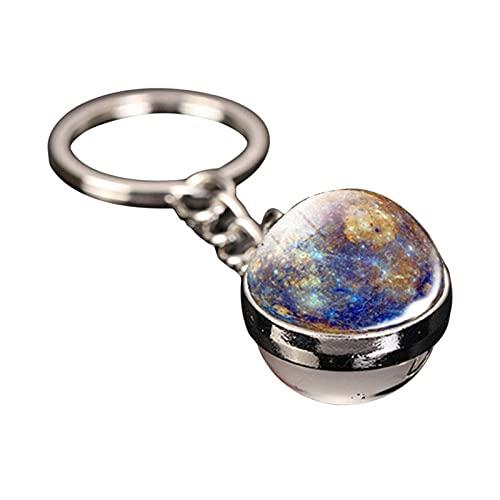 Key Rings Solar System Planet Keychain Moon Earth Sun Mars Art Photo Double Sided Glass Ball Car Keychain Galaxy Nebula Space Keychain-Color3