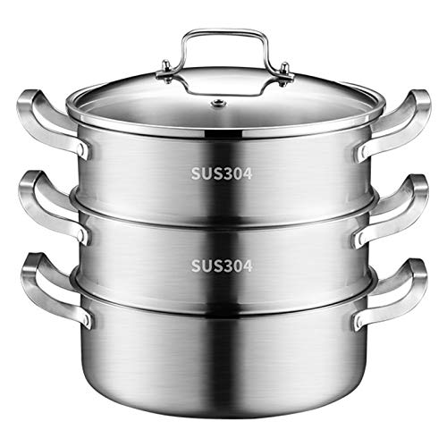 Edelstahl-Dampfgarer-Set, Suppentopf, Dampfgarer, Dampfpfanne mit Deckel, Induktionskochfeld, für Küche, drei Schichten, 28 cm