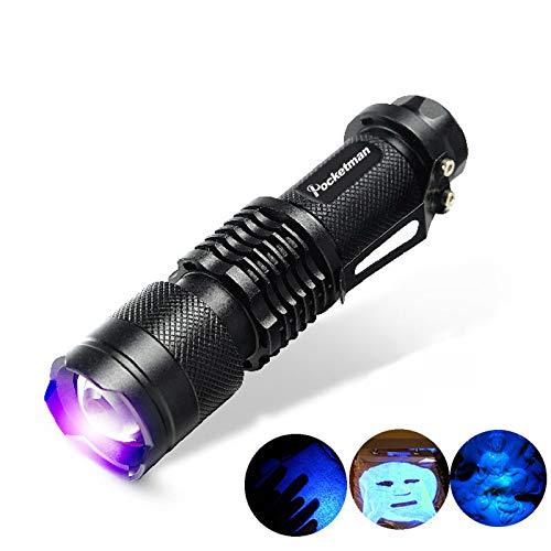 Pocketman SK68 One Mode 300LM Zoomable 396nm UV-Ultravioleta LED Negro linterna para detectar manchas de perros de mascotas Comprobar el dinero de pasaporte, cosmética y Pocketman más