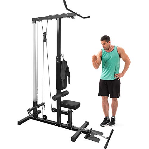 Merax LAT Pulldown and Low Row Cable Machine for Home Gym Fitness Training (Black & Red)