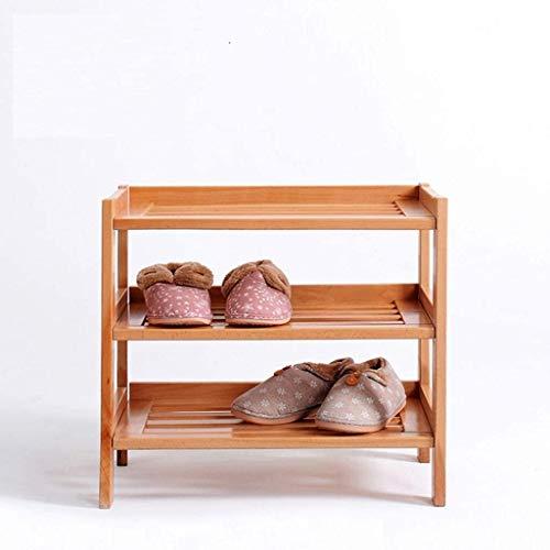 Wddwarmhome Rack de Zapatos de Madera 3 Niveles de Almacenamiento Estante para Pasillo Muebles Grandes Organizador Unidad Marrón Bastidores de Armario marrón (Color : Natural)