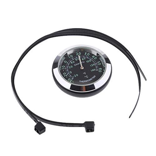 Indicador Sensor de humedad Termómetro Reloj para Motocicleta Acero Inoxidable - Termómetro - Negro