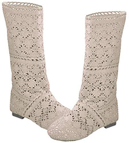 Botas de Verano de Las Mujeres del Verano del cordón del Hueco Botas de Verano de la Mitad de la Rodilla Crochet Ahueca hacia Fuera los Talones Planos Gruesos Botas de la Rodilla