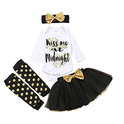 Baby Girls Halloween Outfits My 1st Halloween Romper+ Tutu Dress+ Striated Leg Warmer+ Bunny Headband 4Pcs Outfit Set