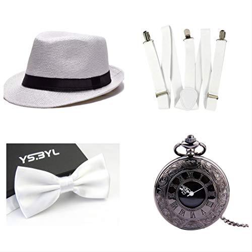 thematys Al Capone Mafia Gangster Hut + Fliege + Hosenträger + Taschenuhr - 20er Jahre Kostüm-Set für Damen & Herren - perfekt für Fasching & Karneval (6)