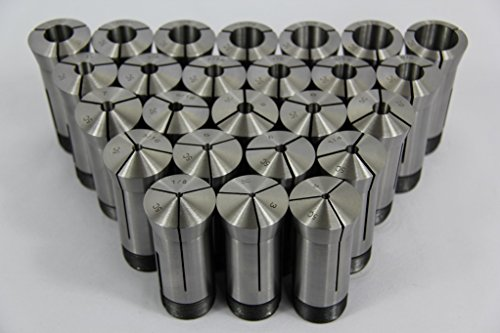 "3-25mm Capacity TIR 0.0005"" High Precision 5C Collet 23 Piece Set"