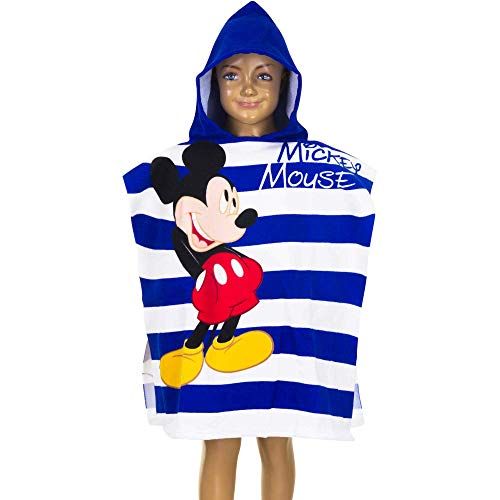 Asciugamano Poncho Bambino Disney Topolino Mickey Mouse | Blu e Bianco | 55 x 110 cm