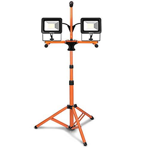 TACKLIFE Double Projecteur Chantier LED avec Trépied, 40W 3200Lumens avec 2 Lampes, 5000K Blanc Froid, Imperméable IP65, Câble 3m, Atelier, Construction,Garage