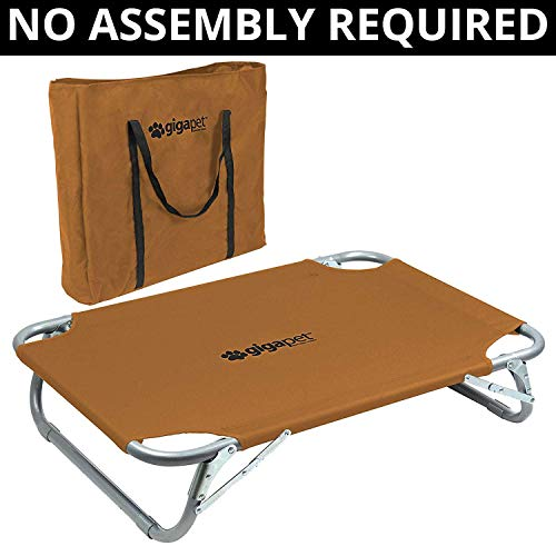Small to Medium Elevated Pet Cot with Steel Frame - Foldable...
